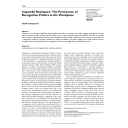 Impactful Resistance : The Persistence of Recognition Politics in the Workplace | Courpasson, David
