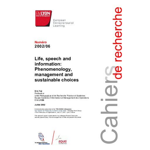 Life, speech and information: phenomenology, management and
